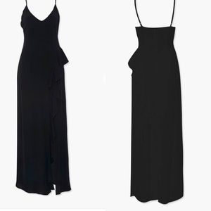 FOREVER 21 ruffled trim maxi dress. Black. Split.